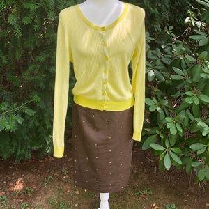 🎃JMclaughlin brown wool skirt with green dots🎃